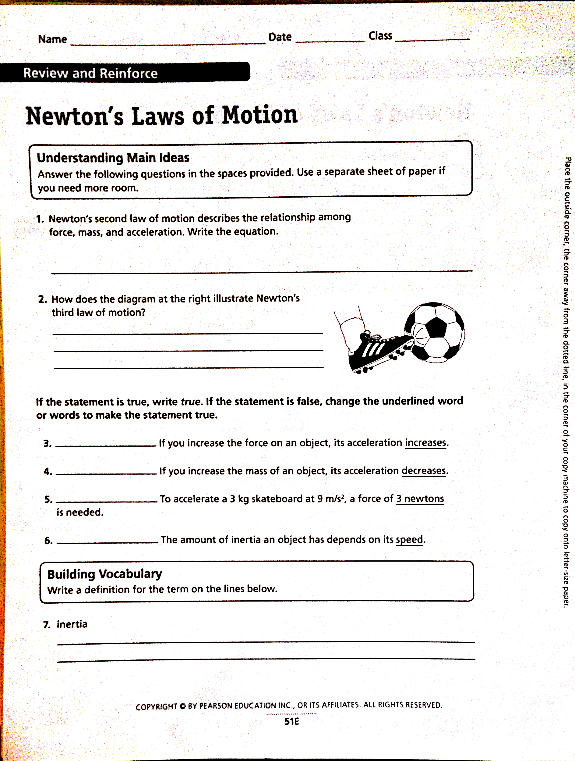 Point Power Newtons Laws NACS 8th Grade Science – Newtons Laws Worksheet